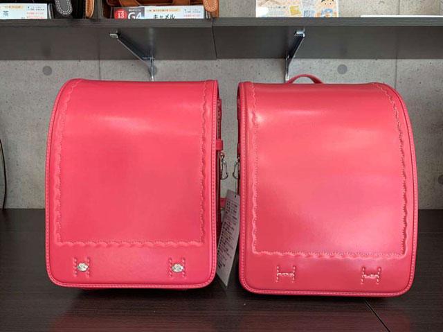 新品のピンクのランドセルと6年後のピンクのランドセルの比較画像