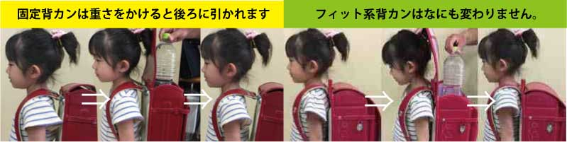 女の子に固定背カンとフィット背カンをの背負った場合の違い